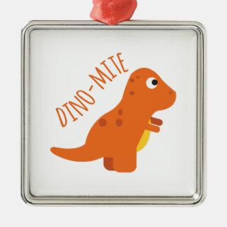 Dino-Mite Silver-Colored Square Ornament