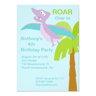 DINO-mite Pterodactyl Kids Birthday Invitation