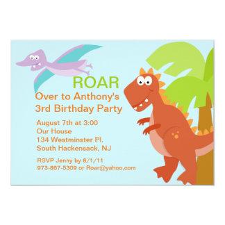 DINO-mite Red Dinosaur Kids Birthday Invitation