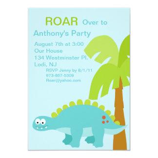 DINO-mite Turquo Dinosaur Kids Birthday Invitation