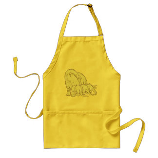 DINO MOTHER and LITTLE ONES Adult Apron