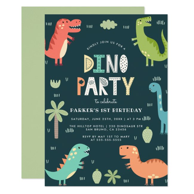 Dino Party | Cute Dinosaurs First Birthday Invitation