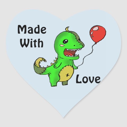 Dino plushie made with love sticker