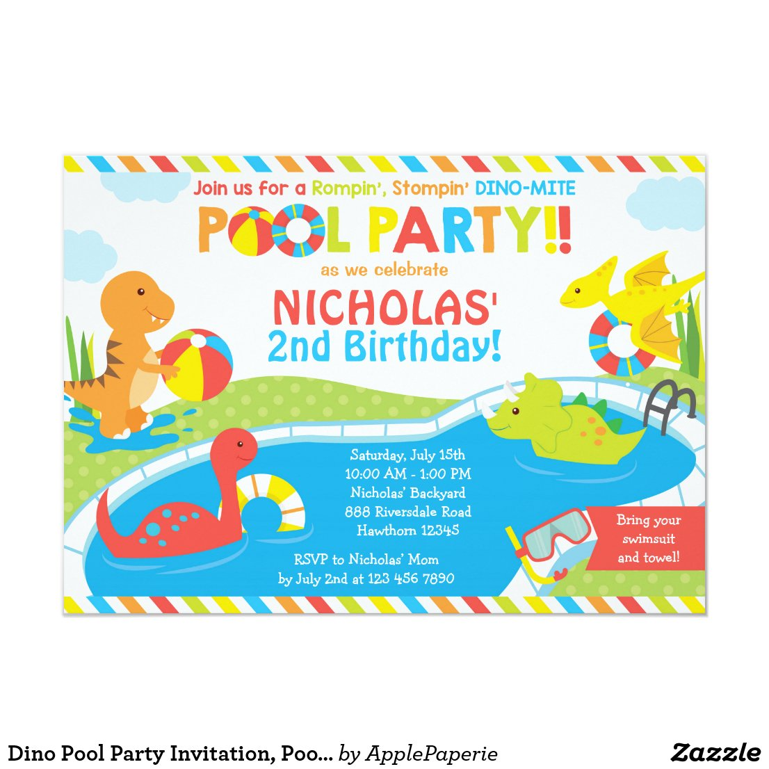 Dino Pool Party Invitation, Pool Party Invite