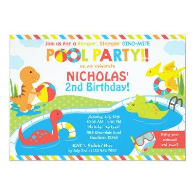Dinosaur Pool Party Invitation   Birthday Party   | Zazzle.com