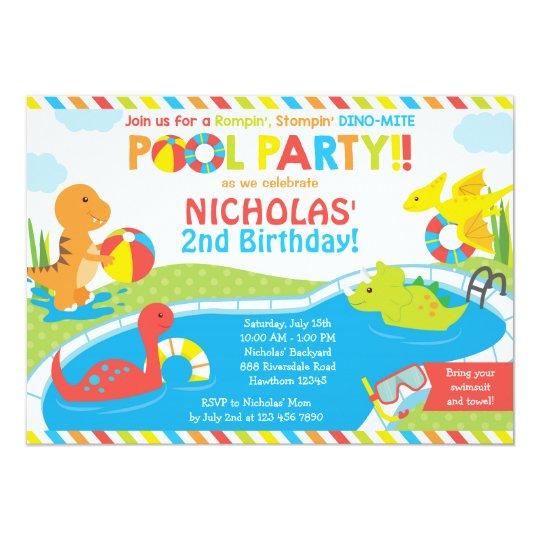 Dino Pool Party Invitation Invite