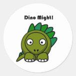 Dino pudo poner verde el dibujo animado del pegatina redonda