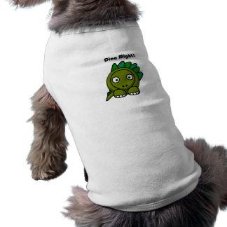 Dino pudo poner verde el dibujo animado del playera sin mangas para perro