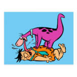 Dino que lame el Flintstone de Fred Tarjeta Postal