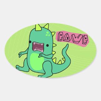 Dino Rawr Oval Sticker
