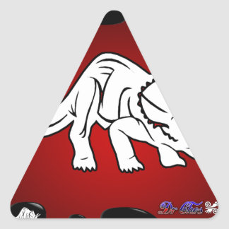 DINO RED BACKGROUND PRODUCTS TRIANGLE STICKER