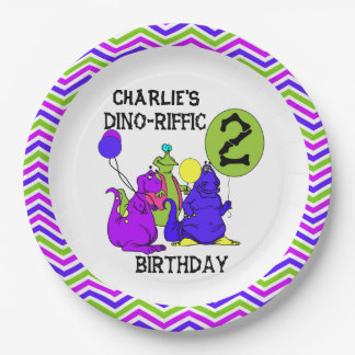 Dino-Riffic 2nd Happy Birthday Paper Plates