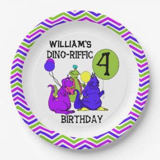 Dino-Riffic 4th Birthday Paper Plates