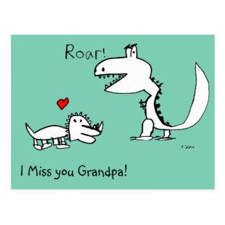 Dino Roaring, Red Heart, Miss You Grandpa Postcard