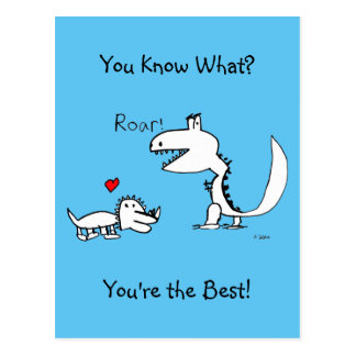 Dino Roaring, Red Heart, You Are The Best Postcard