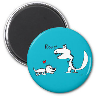 Dino Roaring, Red Heart, Your Special 2 Inch Round Magnet