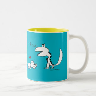 Dino Roaring, Red Heart, Your Special Two-Tone Coffee Mug
