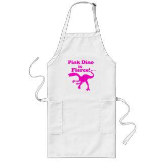 Dino rosado es diseño rosado divertido feroz delantal largo