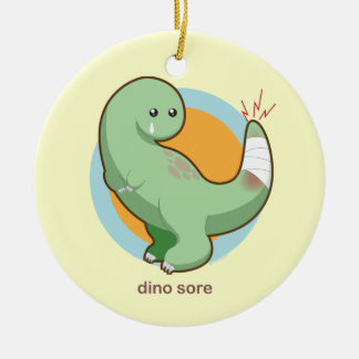 Dino Sore Double-Sided Ceramic Round Christmas Ornament