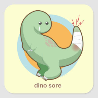 Dino Sore Square Stickers