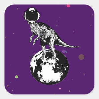 dino spaceman square sticker