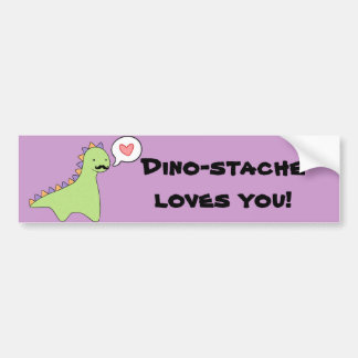 """Dino-stache"" Cute Dinosaur Mustache Bumper Sticker"