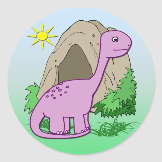 Dino the Dinosaur Cute Kid's Round Sticker