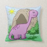 Dino the Dinosaur Cute Kid's Throw Pillow