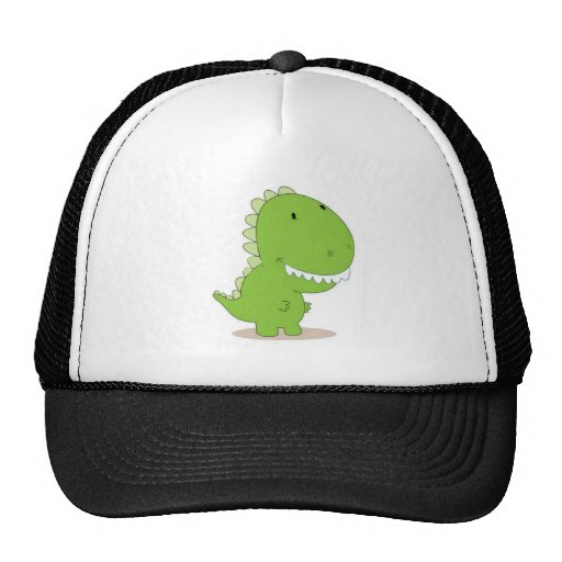 Dino verde feliz gorras