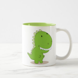 Dino verde feliz taza dos tonos