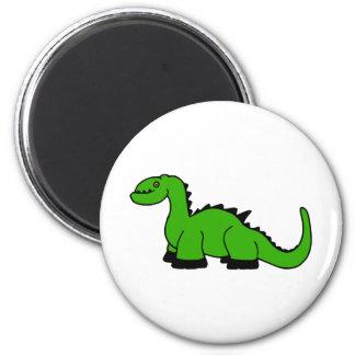 Dino verde imán redondo 5 cm