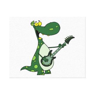 Dino verde que sostiene la guitarra gráfica impresion de lienzo