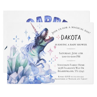 Dinocorn Baby Shower | Watercolor Unicorn Dinosaur Card