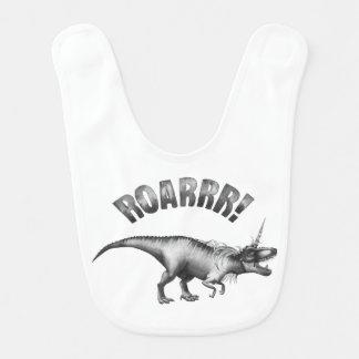 Dinocorn Baby | Silver Fantasy Unicorn Dinosaur Baby Bib
