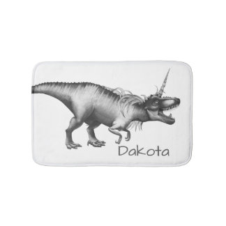 Dinocorn Bath | Monochrome Unicorn Dinosaur Roar Bath Mat