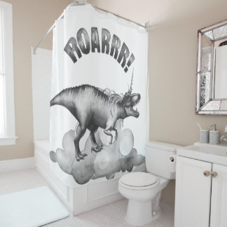 Dinocorn Bath | Monochrome Unicorn Dinosaur Roar Shower Curtain