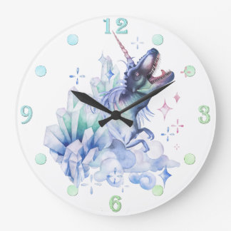 Dinocorn Decor | Crystal Fantasy Dinosaur Unicorn Large Clock