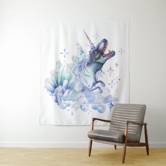 Dinocorn Decor | Crystal Fantasy Dinosaur Unicorn Tapestry