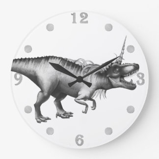 Dinocorn Decor | Monochrome Unicorn Dinosaur Roar Large Clock