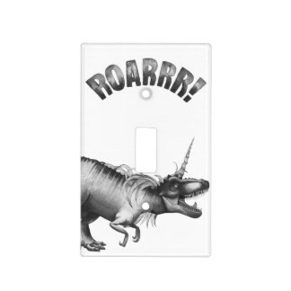 Dinocorn Decor | Monochrome Unicorn Dinosaur Roar Light Switch Cover