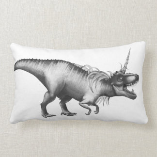 Dinocorn Decor | Monochrome Unicorn Dinosaur Roar Lumbar Pillow