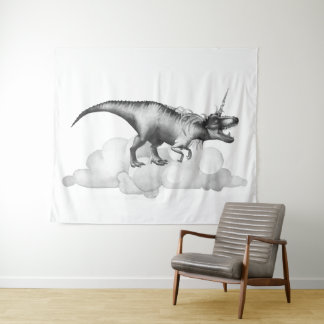 Dinocorn Decor | Monochrome Unicorn Dinosaur Roar Tapestry