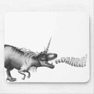 Dinocorn Fantasy Monochrome Cute Dinosaur Unicorn Mouse Pad