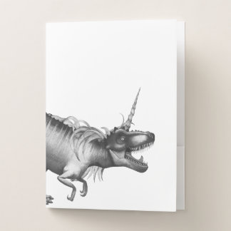 Dinocorn Fantasy Monochrome Cute Dinosaur Unicorn Pocket Folder