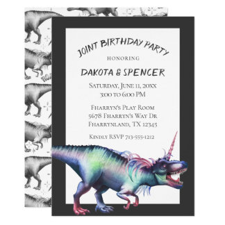 Dinocorn Joint Birthday Party | Unicorn Dinosaur Card