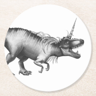Dinocorn Party | Chc Monochrome Unicorn Dinosaur Round Paper Coaster