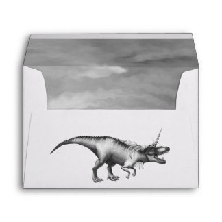 Dinocorn Party | Chic Monochrome Unicorn Dinosaur Envelope