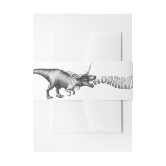 Dinocorn Party | Chic Monochrome Unicorn Dinosaur Invitation Belly Band