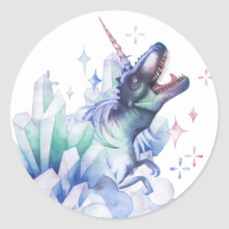 Dinocorn Party | Crystal Fantasy Dinosaur Unicorn Classic Round Sticker