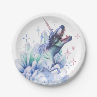 Dinocorn Party | Crystal Fantasy Dinosaur Unicorn Paper Plate